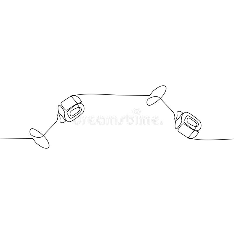 cute microphone continuous one line vector drawing. Pianoforte hand drawn silhouette clipart. Acoustic musical instrument sketch. royalty free illustration