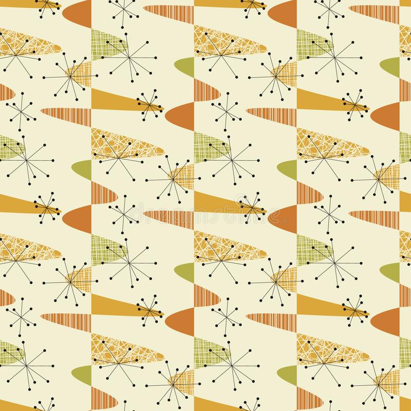 Cute middle age geometric seamless pattern. For background, wrap, fabric, textile, wrap, surface, web and print design. Nostalgic vintage style vector stock illustration