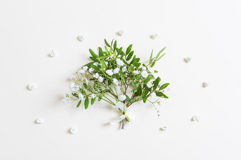 Cute miniature spring bouquet of twigs with green leaves and small gypsophila flowers. Light pastel background. Concept of Women`s Day, Valentine`s Day stock images
