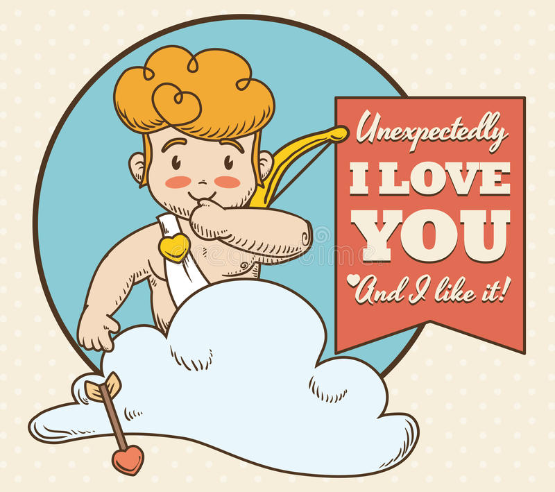 Cute and Mischievous Cupid with Love Message, Vector Illustration royalty free stock image
