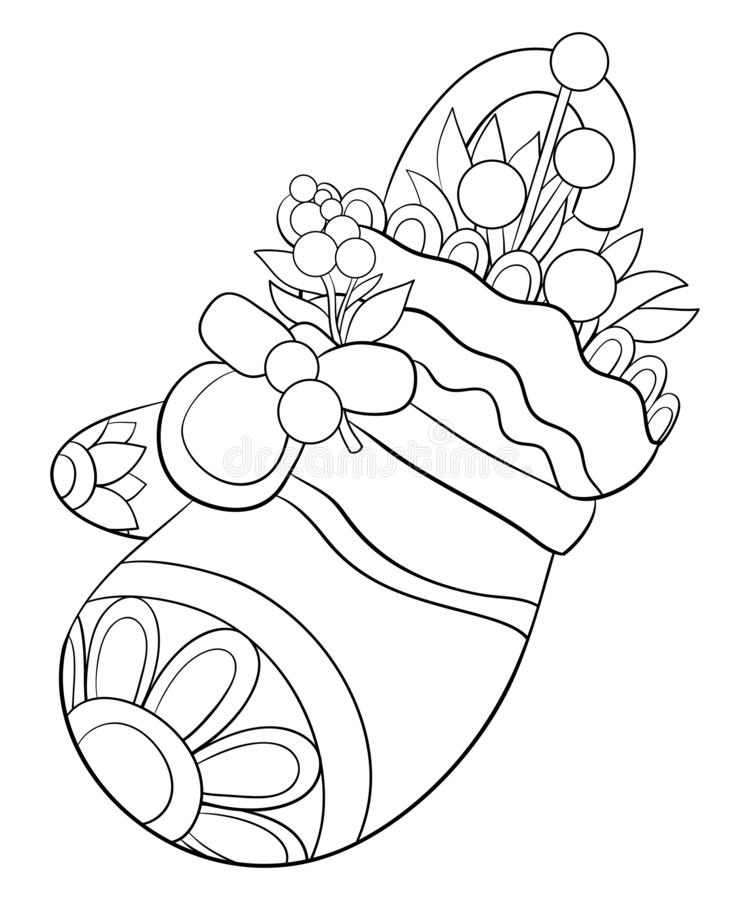 A coloring book,page a cute mitten with candy and leaves for adults and children.Line art style illustration. vector illustration