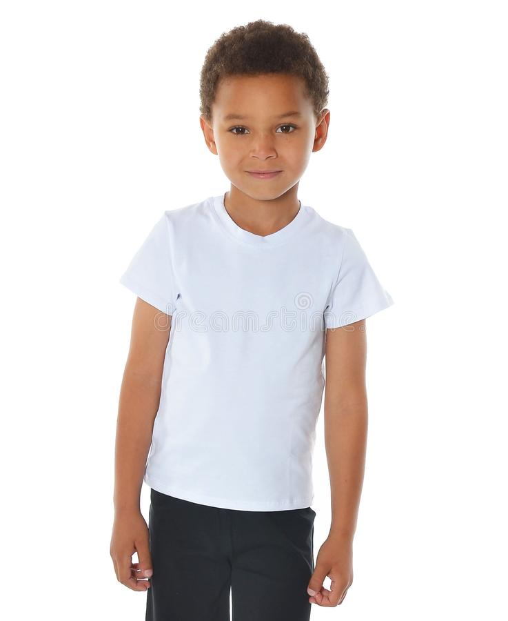 Handsome african american boy in white t-shirt on white background royalty free stock photography