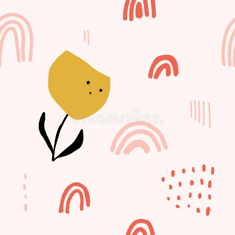 Cute modern abstract vintage pattern in scandinavian style. Pastel nursery wallpaper with simple shapes. Vector and jpg image, vector illustration