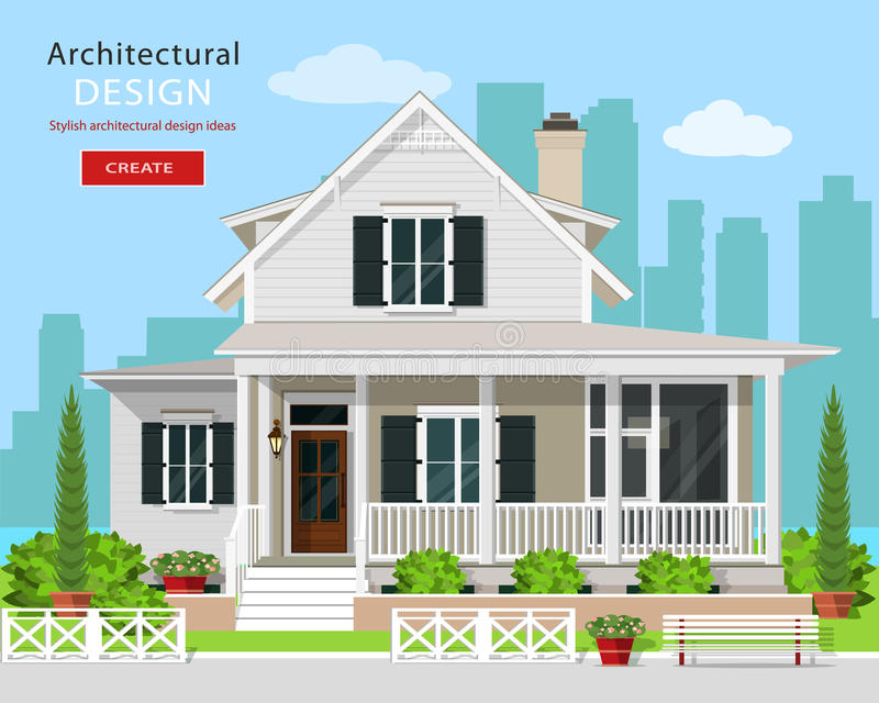Cute modern graphic cottage house with trees, flowers, bench and city background. vector illustration