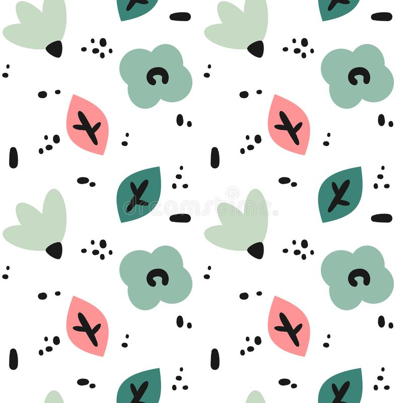 Cute modern seamless vector pattern background illustration with abstract hand drawn flowers, leaves and black shapes vector illustration