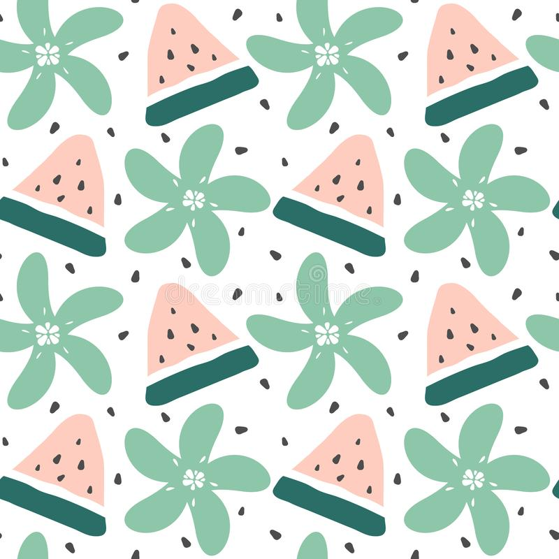 Free Cute Modern Summer Seamless Vector Pattern Background Illustration With Watermelon Slice, Seeds And Flowers Royalty Free Stock Photos - 151862108