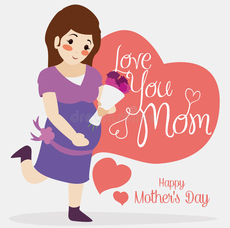 Cute Mom with a Bouquet Gift for Mother's Day, Vector Illustration royalty free stock photography