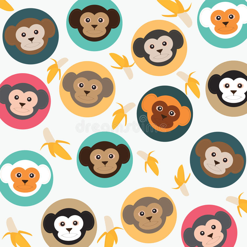 Cute monkey with bananas. stock illustration