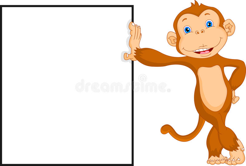 Cute monkey with blank sign royalty free illustration