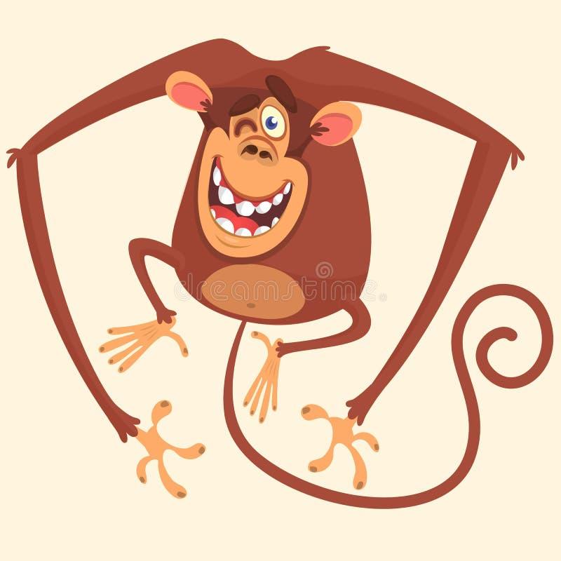 Cute monkey blinking cartoon. Vector drawing icon of cute monkey isolated. Cute monkey blinking cartoon. Vector drawing icon of cute monkey isolated royalty free illustration
