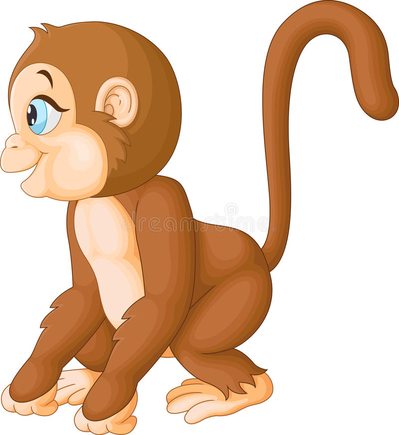 Cute monkey cartoon royalty free illustration