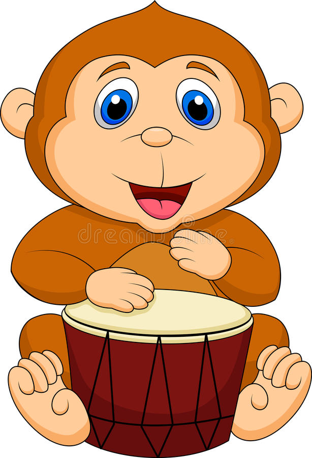 Cute monkey cartoon playing drum stock illustration
