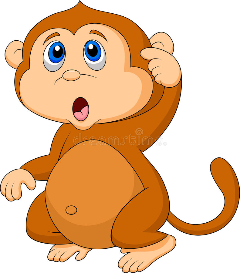 Cute monkey cartoon thinking royalty free illustration