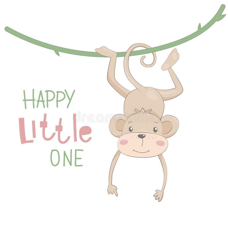 Cute monkey drawn vector illustration with lettering Happy littlel one royalty free stock photography
