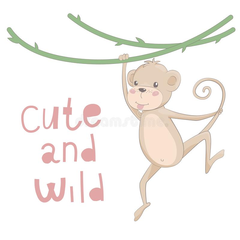 Cute monkey drawn vector illustration with lettering cute and wild stock image
