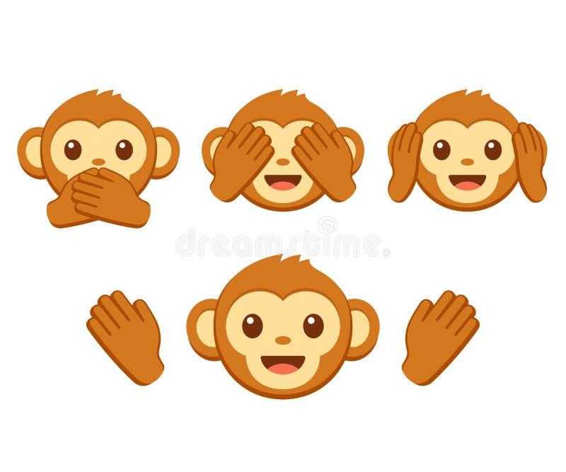 Cute monkey emoji set stock illustration