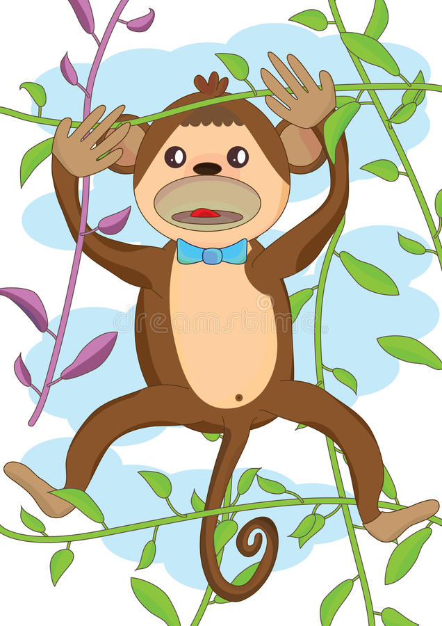 Download Cute Monkey_eps stock vector. Image of backdrop, design - 25361249
