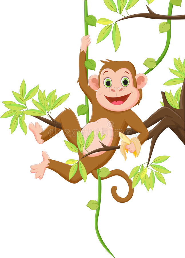 Cute monkey hanging on a tree and holding banana vector illustration