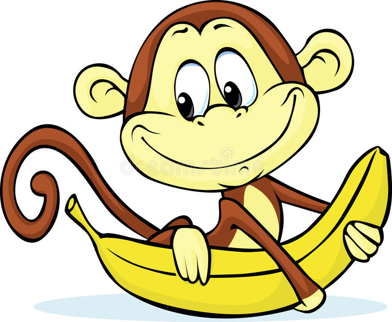 Cute monkey hold banana - vector vector illustration