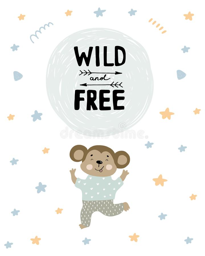 Cute monkey in pajamas dancing illustration with text Wild and free on hand drawn shapes background. Vector flat cartoon. Cute happy monkey in pajamas dancing royalty free illustration