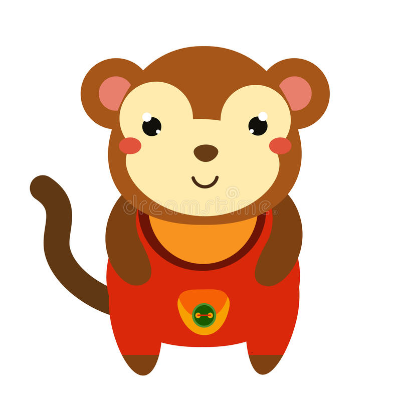 Cute monkey in red jumpsuit. Cartoon kawaii animal character. Vector illustration for kids and babies fashion stock illustration
