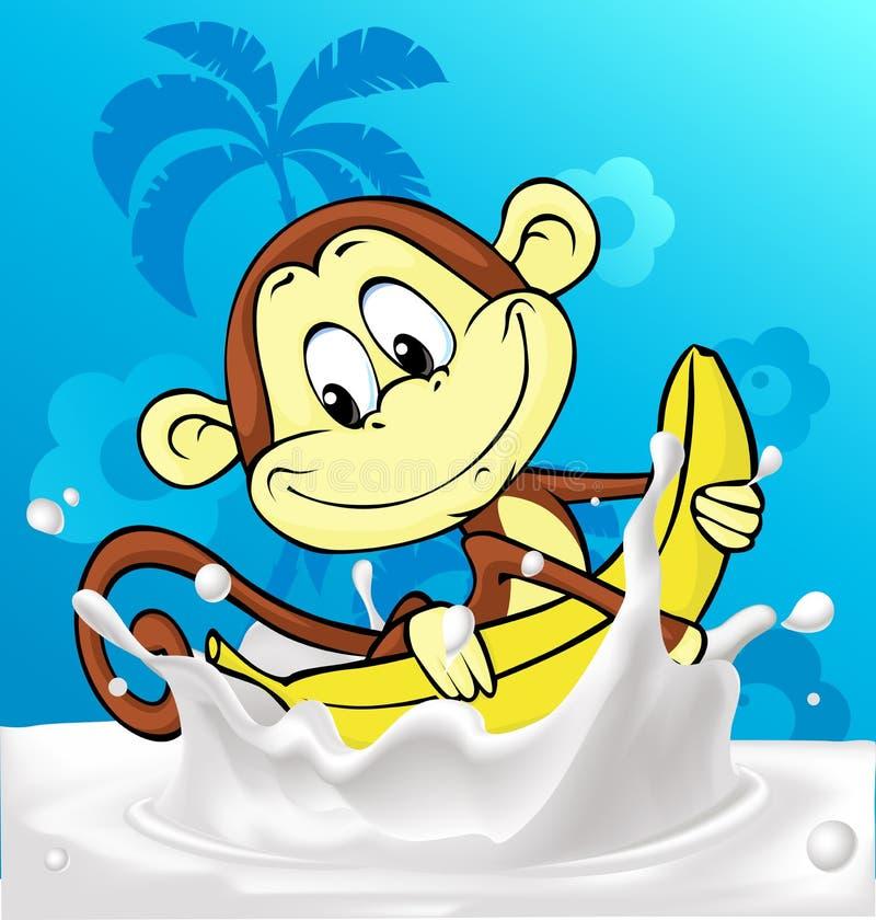 Cute monkey ride banana in milk splash - funny vector stock illustration