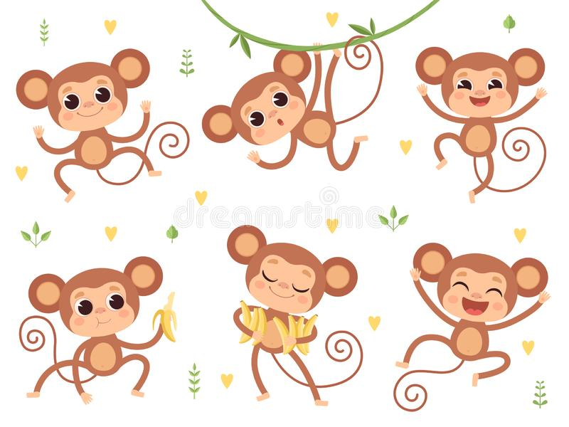Cute monkeys. Jungle wild animals baby little monkeys playing vector characters in action poses. Happy monkey and chimpanzee with banana illustration royalty free illustration