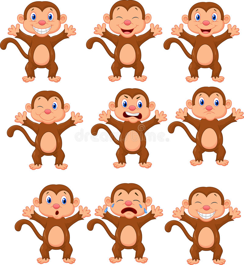 Cute monkeys in various expression royalty free illustration