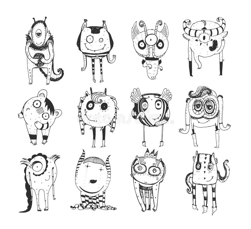 Cute monochrome collection with hand drawn doodle monsters, on white background. Lovely characters staying and watching. stock illustration