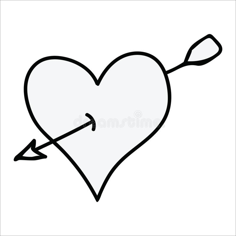 Cute monochrome heart with arrow line art cartoon vector illustration motif set. Hand drawn isolated romantic elements clipart for stock illustration