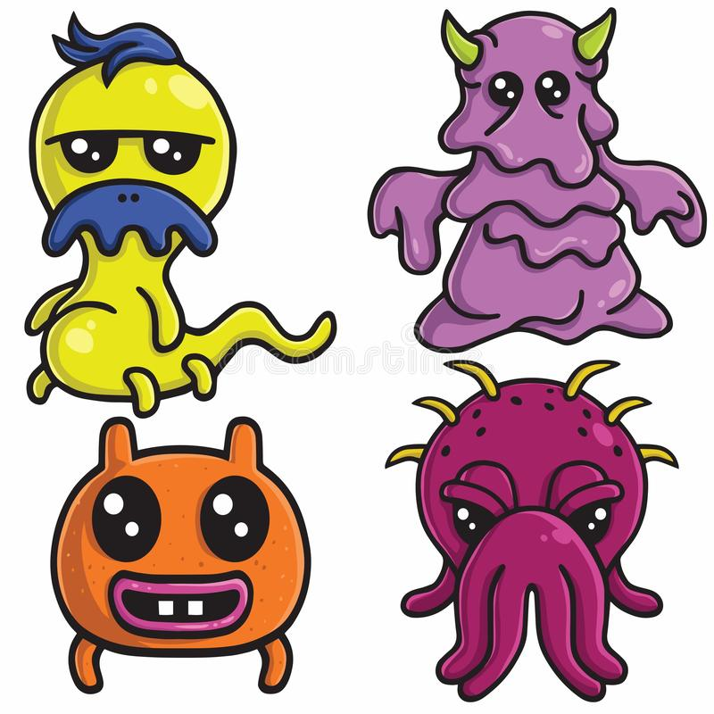 Cute Monster Character Designs Set Colorful Cartoon Vector Template Illustration stock illustration