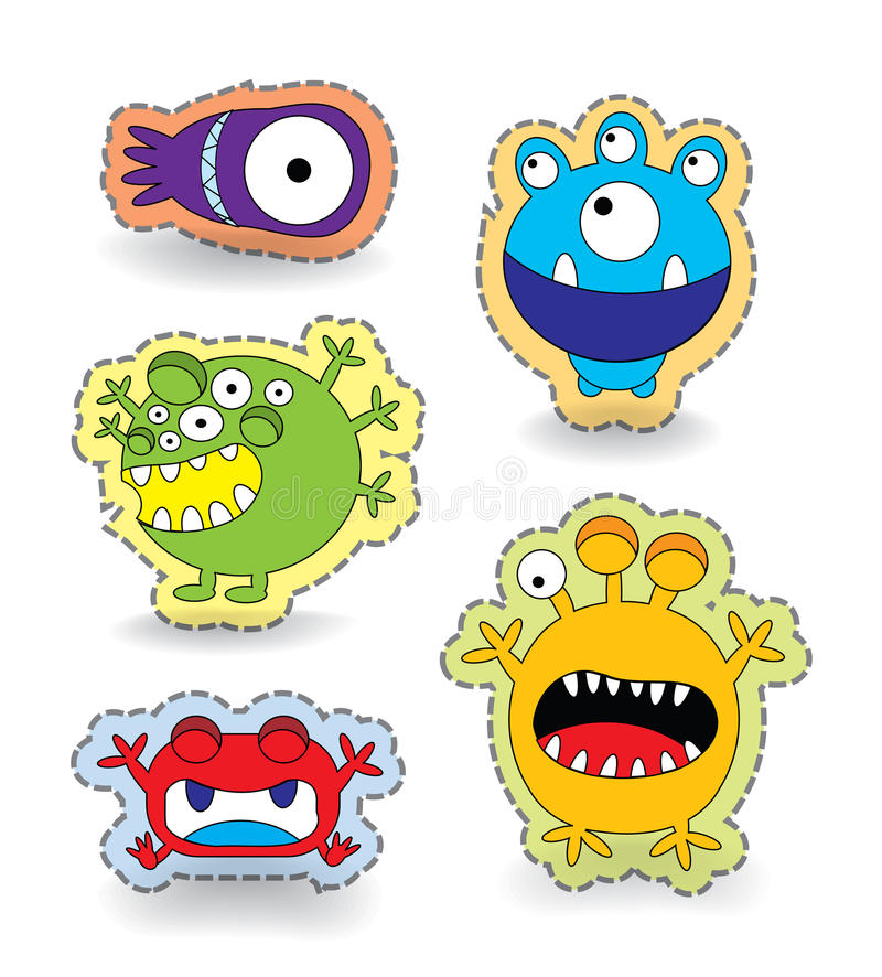 Free Cute Monster Collection Set Sticker Stock Photo - 32053580