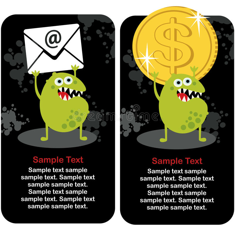 Download Cute Monster With Dollar Coin And E-mail. Stock Vector - Illustration: 33184213