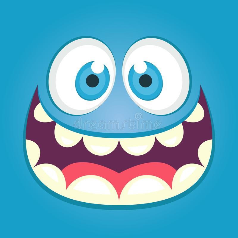 Cute monster face. Square avatar. vector illustration