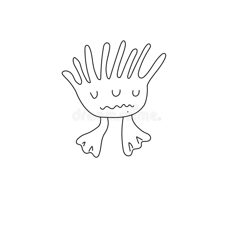 Cute monster icons in outline style. Vector illustration for kids worksheet and nursery design, linear, baby, child, decor, drawn, character, happy, animal stock illustration
