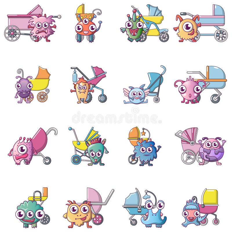 Cute monster icons set, cartoon style. Cute monster icons set. Cartoon set of 16 cute monster vector icons for web isolated on white background royalty free illustration