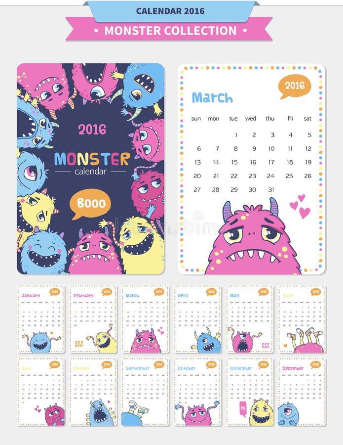 Cute monster illustration. Vector calendar 2016 with cute monster illustrations royalty free illustration