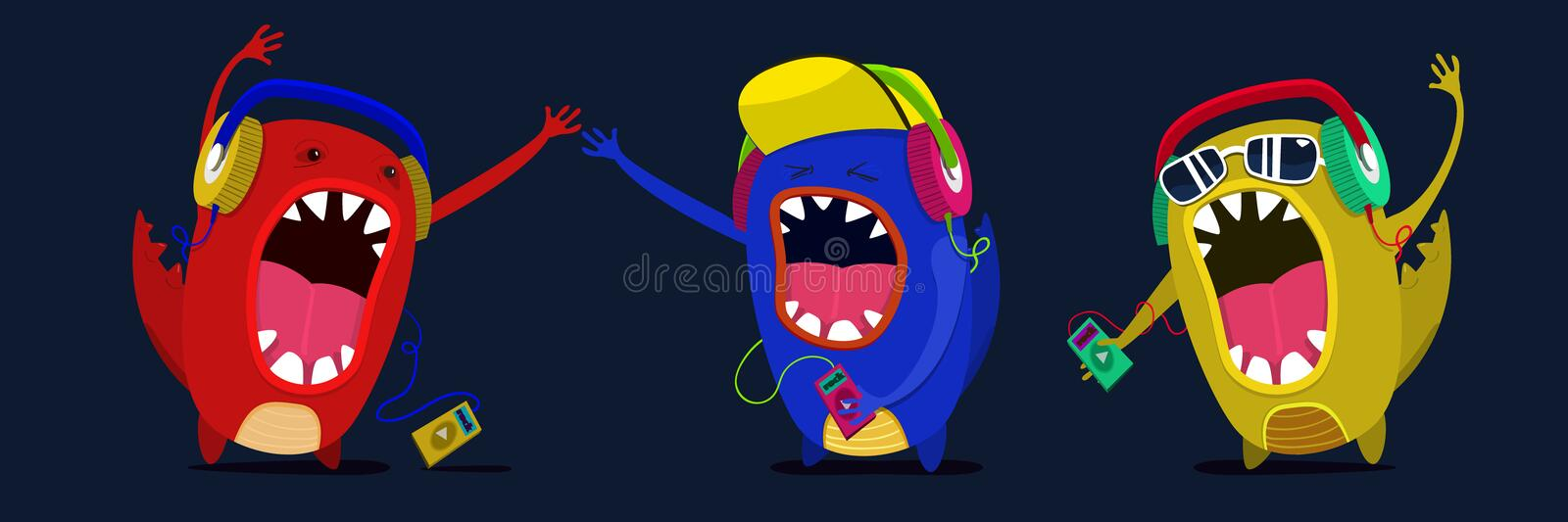 Cute monster listen to music graphic. Set musicians or fan stock image