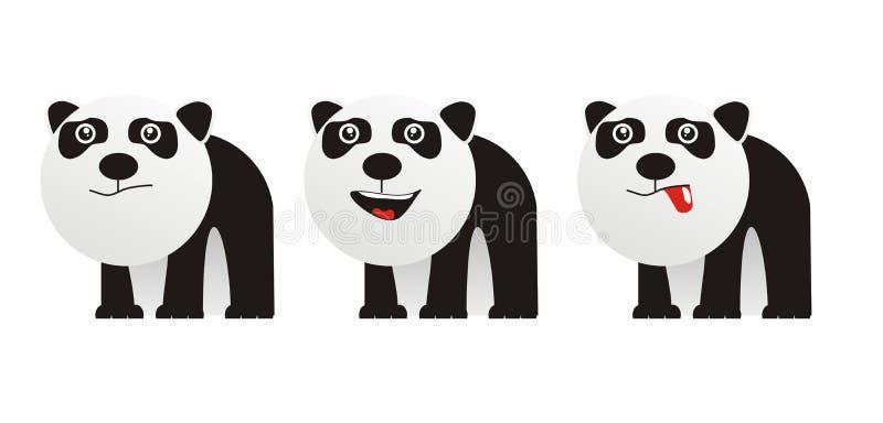 Cute monster panda. 3 little cute monster pada stock illustration