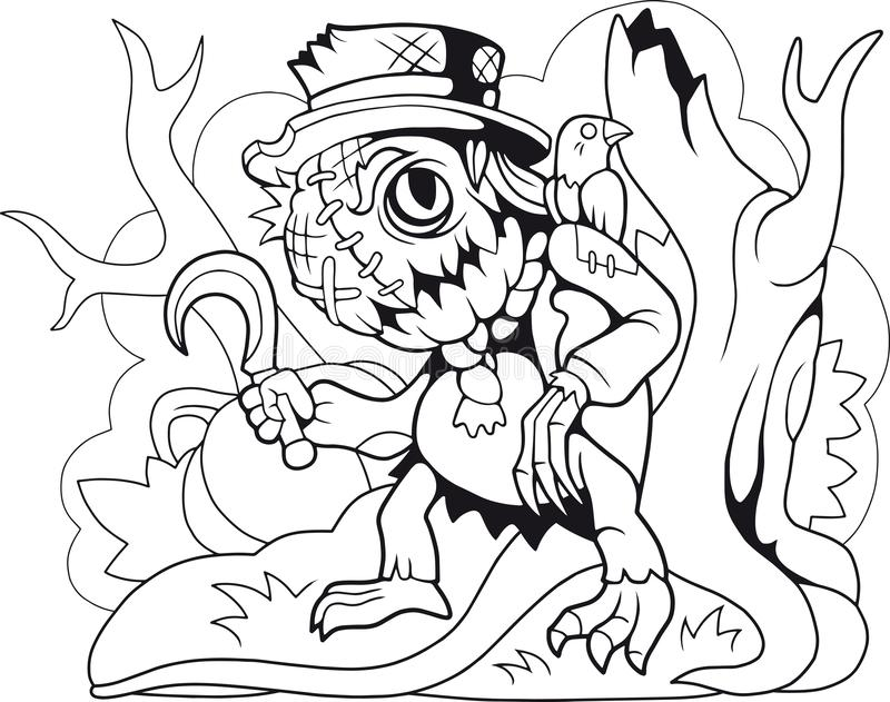 Cute monster scarecrow coloring book funny illustration. Cartoon cute monster scarecrow coloring book funny illustration stock illustration