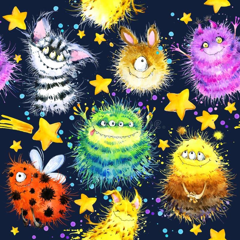 Cute monster seamless pattern. watercolor cartoon space illustration. rocket. Flying saucer. alien stock illustration