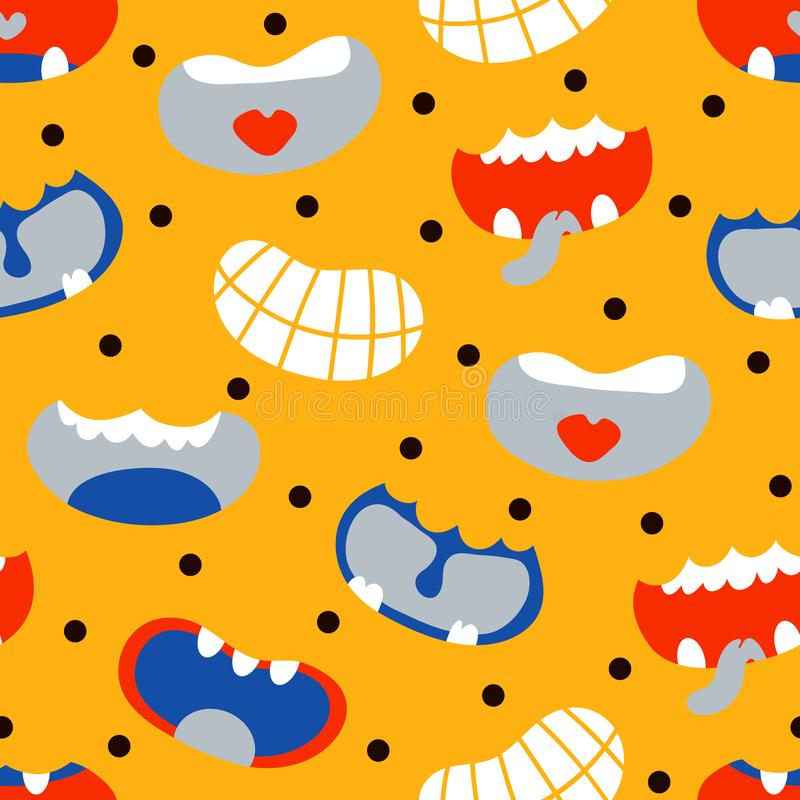 Cute monster smiles. Vector seamless background pattern with cute monster smiles vector illustration