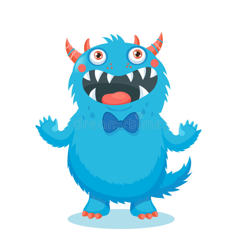 Cute Monster Vector. Cartoon Monster Mascot. Vector Illustration Funny Fantastic Animals. stock photography