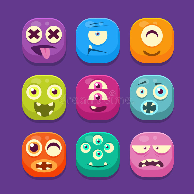 Cute Monster Web Icons, Colourful Vector. Cute Monster with different emotions Web Icons, Colourful Vector Illustration Set vector illustration