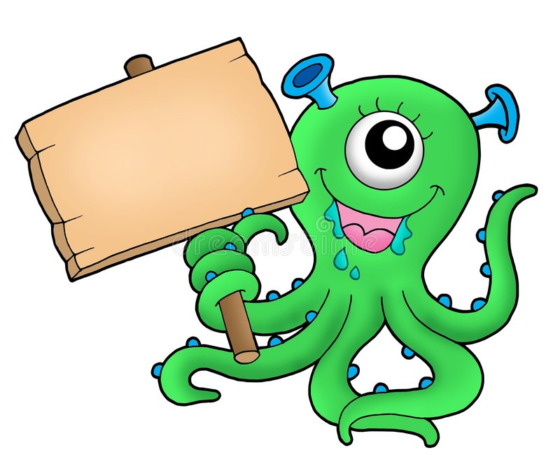 Cute monster with wooden sign. Color illustration royalty free illustration