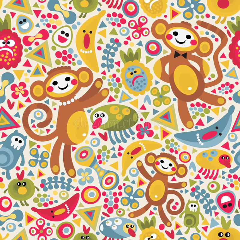 Cute monsters and animals seamless texture. vector illustration