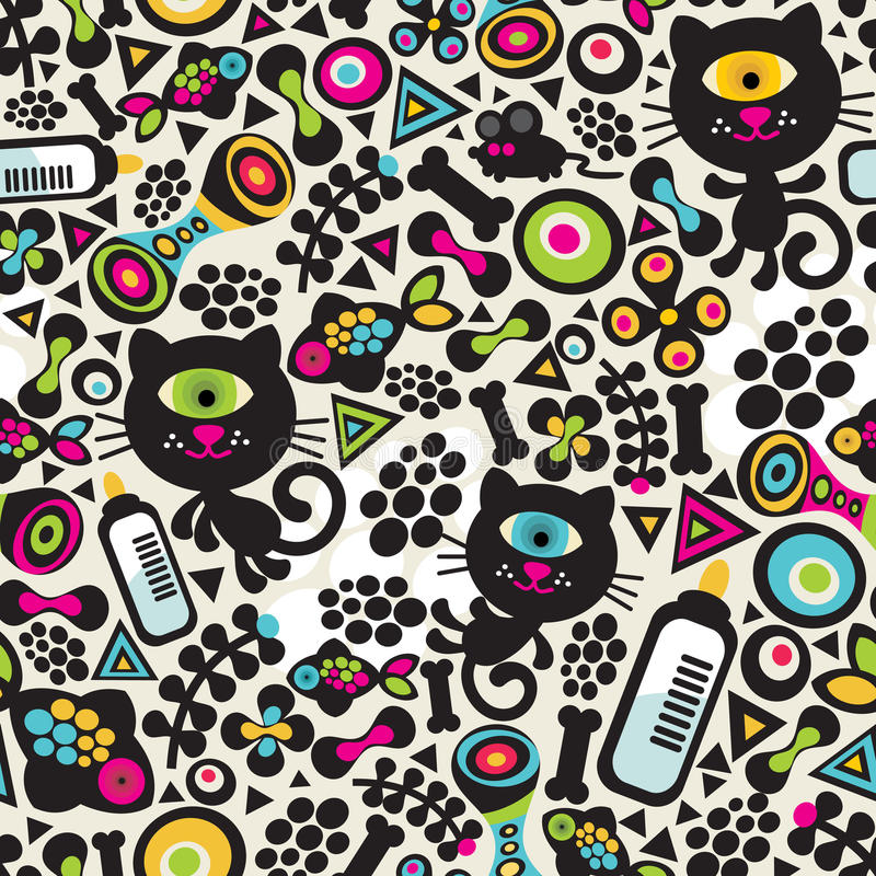 Cute monsters cats seamless pattern. stock illustration