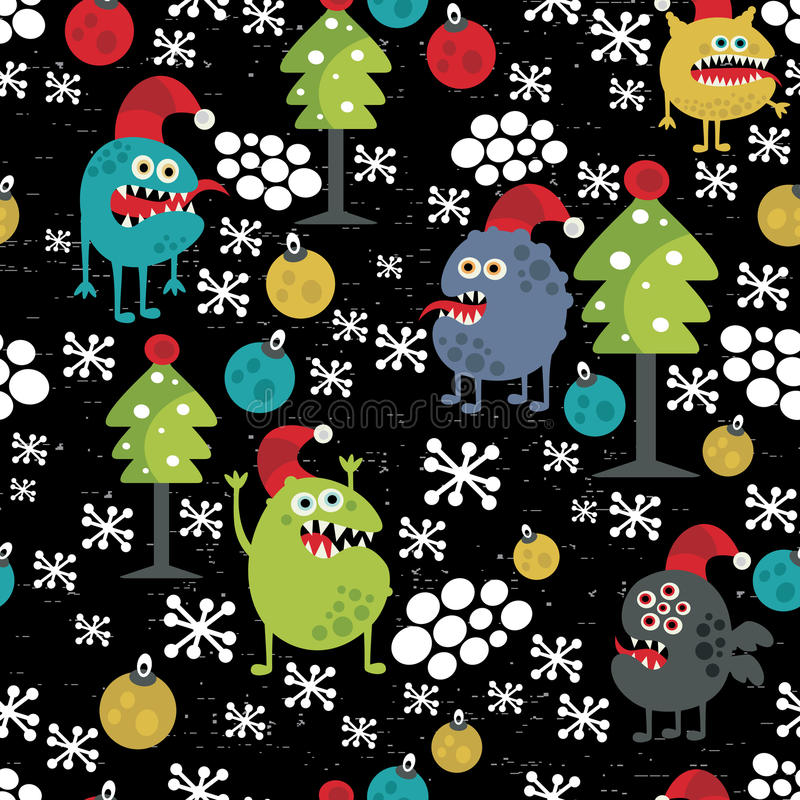 Cute monsters and Christmas seamless pattern. stock illustration