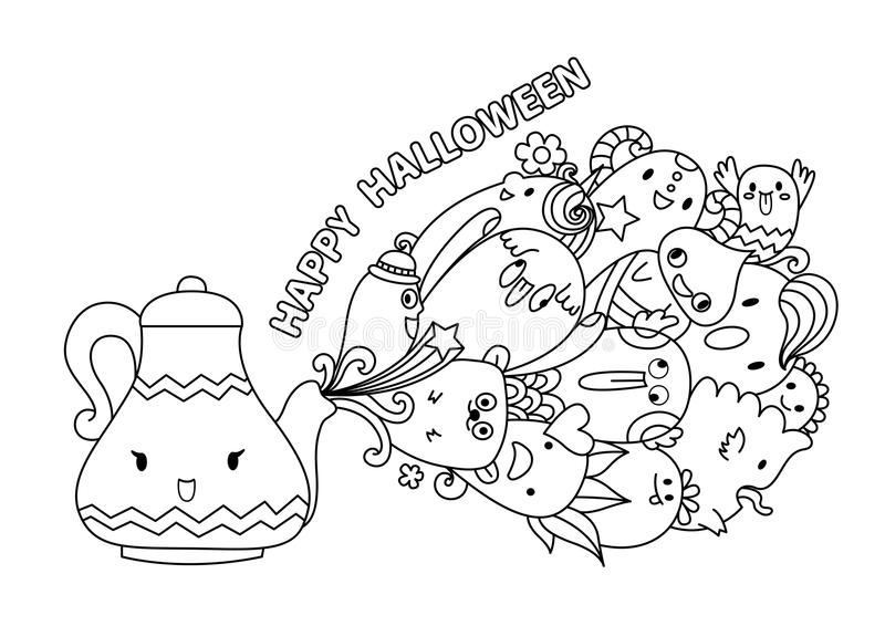 Cute monsters coming out of the lamp with the typography Happy Hallowen for design element and coloring book page. Vector illustra. Cute monsters coming out of royalty free illustration