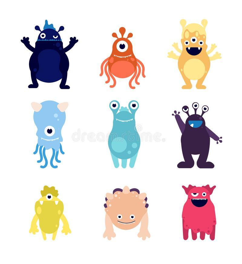 Cute monsters. Funny monster aliens mascots. Crazy hungry halloween toys isolated cartoon vector characters stock illustration